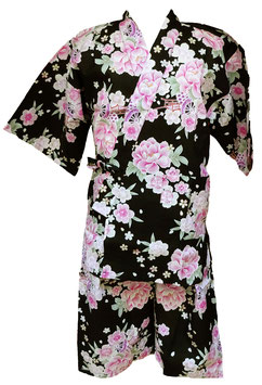 Jimbei Femme motifs floraux sur fond noir