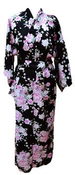 Yukata Motifs floraux sur fond noir