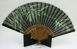 Eventail en soie Bambous sur fond noir