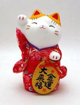 Grand Maneki Neko Tissu Chirimen Rouge (oreilles jaune orangé)