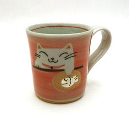 Tasse porcelaine Maneki Neko avec anse (rose orangé)