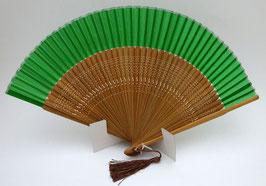 Eventail en soie et bambou vert foncé uni