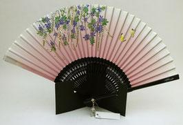 Eventail Petits Papillons et Végétation sur fond rose pâle