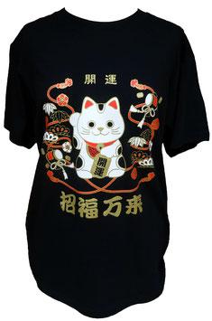 T-Shirt Noir Maneki-neko porte-bonheur