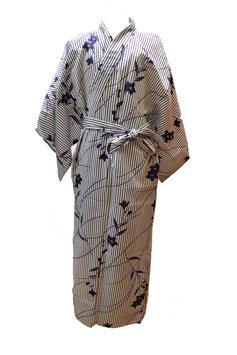 Yukata Rayures et Fleurs Bleues