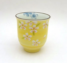 """Tasse """"Fleurs de ceriser de Kyôto"""" sur fond jaune (haute)"""