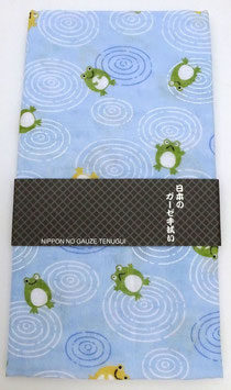 """Tenugui """"Grenouilles et ronds dans l'eau"""", sur fond bleu clair"""