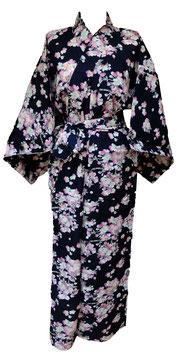 """Yukata  """"Branches de Sakura"""" sur fond bleu marine foncé"""