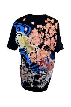 T-shirt noir Poissons et Sakura
