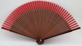 Eventail en soie et bambou rouge uni