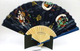Eventail Fujin Raijin sur fond bleu foncé