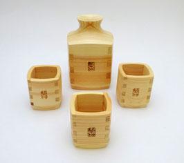 Service à saké en bois de Hinoki 1 verseuse et 3 coupelles