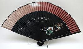 Eventail en soie et bambou Fûjin Raijin (fond noir et rouge mat)
