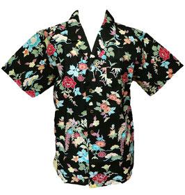 Chemise motifs floraux sur fond noir