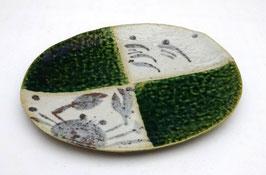 "Assiette Oribe ovale, motif ""Crabe"""