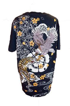 T-shirt Tigre et aigle sur fond noir