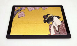 """Tapis de souris pour ordinateur """"Portrait de femme sous les cerisiers en fleurs"""""""