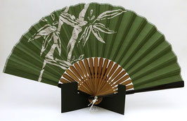 Eventail motif Bambous sur fond vert kaki