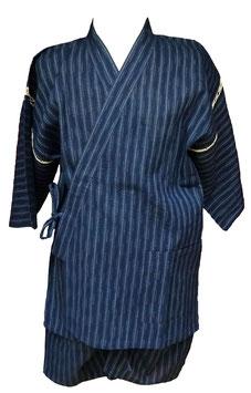 Jimbei Tissage Shijira, fines rayures sur fond bleu