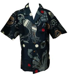 Chemise motif japonais Matoi sur fond bleu marine