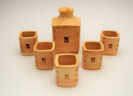 Service à saké (Bois de Hinoki) 1 verseuse et 5 coupelles