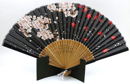 Eventail bambou Fleurs de Sakura et Momiji sur fond noir
