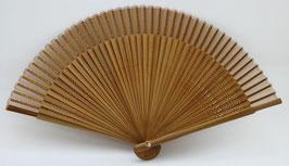 Eventail en soie et bambou marron uni