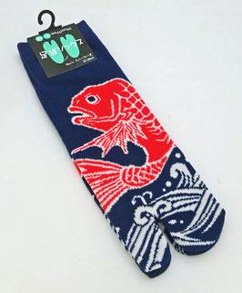 Soquettes Tabi Grand poisson rouge et Vagues  sur fond bleu marine (Taille 39-43)
