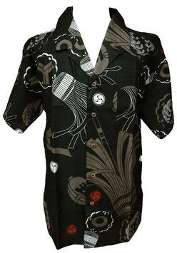 Chemise motif japonais Matoi sur fond noir