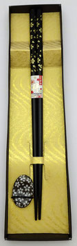 Coffret baguettes Fleurs de sakura (noir)