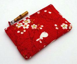 Porte-monnaie Lapins et Fleurs de Sakura (rouge)