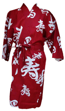 "Yukata ""Bonheur"" court (fond rouge foncé)"