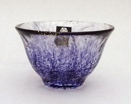 Coupe à saké verre et poudre d'or (violet)
