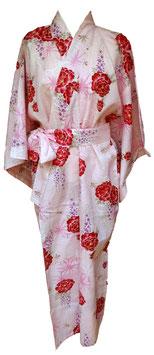 Yukata Pivoines sur fond rose