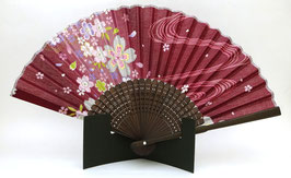 Eventail bambou sakura et ondes (bordeaux)