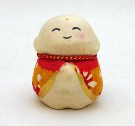 Petit jizô en papier mâché japonais (jaune orangé)