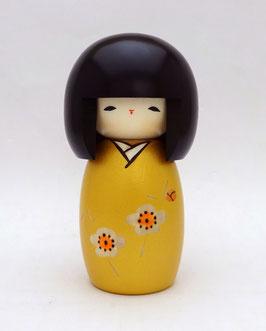 "Kokeshi ""Floraison"" (kaika), nuance dorée"
