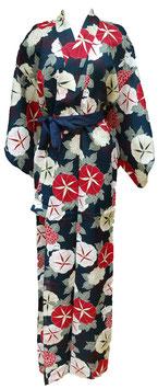 """Kimono long 100% coton, motifs """"Belles de jour"""" (asagao) et Chats sur fond bleu (sans ceinture)"""