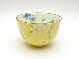 """Tasse """"Fleurs de cerisier de Kyôto"""" sur fond jaune"""