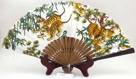 Eventail en tissu Tigres et Végétations sur fond blanc