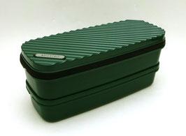 """Boîte à bento 2 étages, """"stries"""" sur fond vert"""
