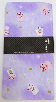Tenugui Maneki-neko sur fond violet