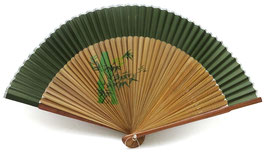 "Eventail en soie ""Bosquet de bambous"" sur fond vert"