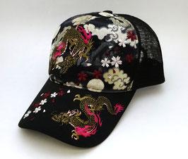 Casquette Dragon, Sakura et Nuages (filet polyester)