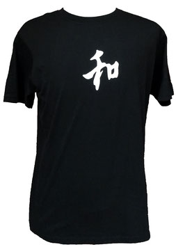 "T-Shirt Noir, kanji Wa ""Japon/harmonie"""