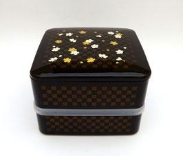 Boîte à repas carrée 2 étages, motif Ichimatsu-hana sakura