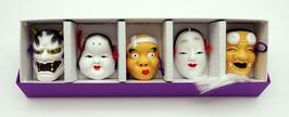 Petit coffret de cinq masques Nô