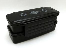 Boîte à bento 2 étages, motifs géométriques sur fond noir