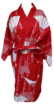 Yukata court Eventails et Calligraphies sur fond rouge