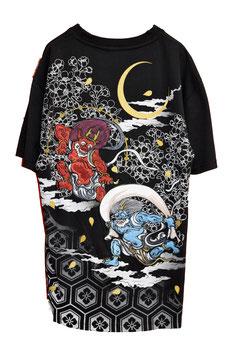 T-Shirt Noir Brodé Fujin Raijin